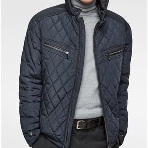 Zara men quilted puffer hooded jacket in navy blue
